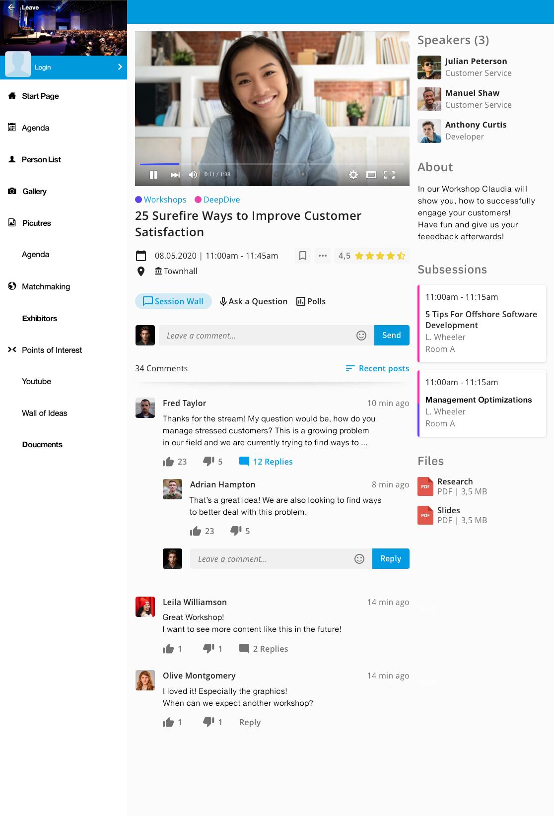 event app - virtual experience hub