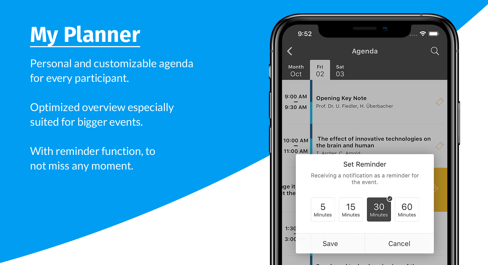 event app - my planner details