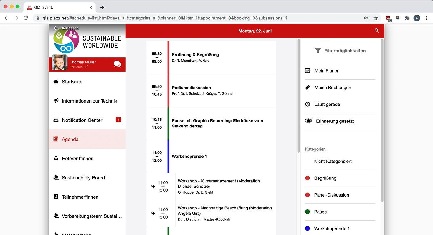 giz stakeholder event app agenda