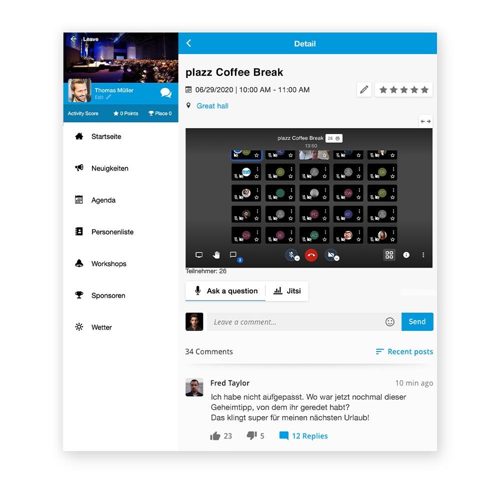 hybride events - telefon konferenzen in der event app