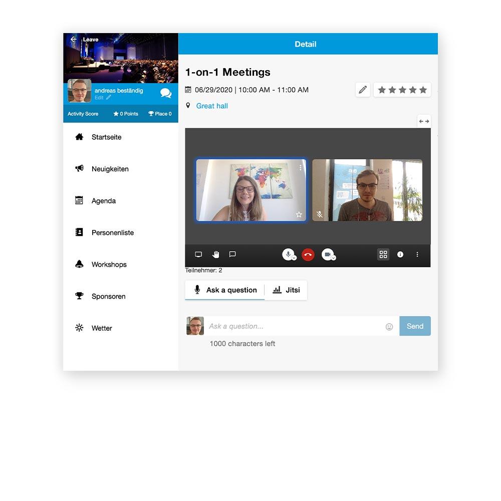 hybride events - persönliche meetings in der event app