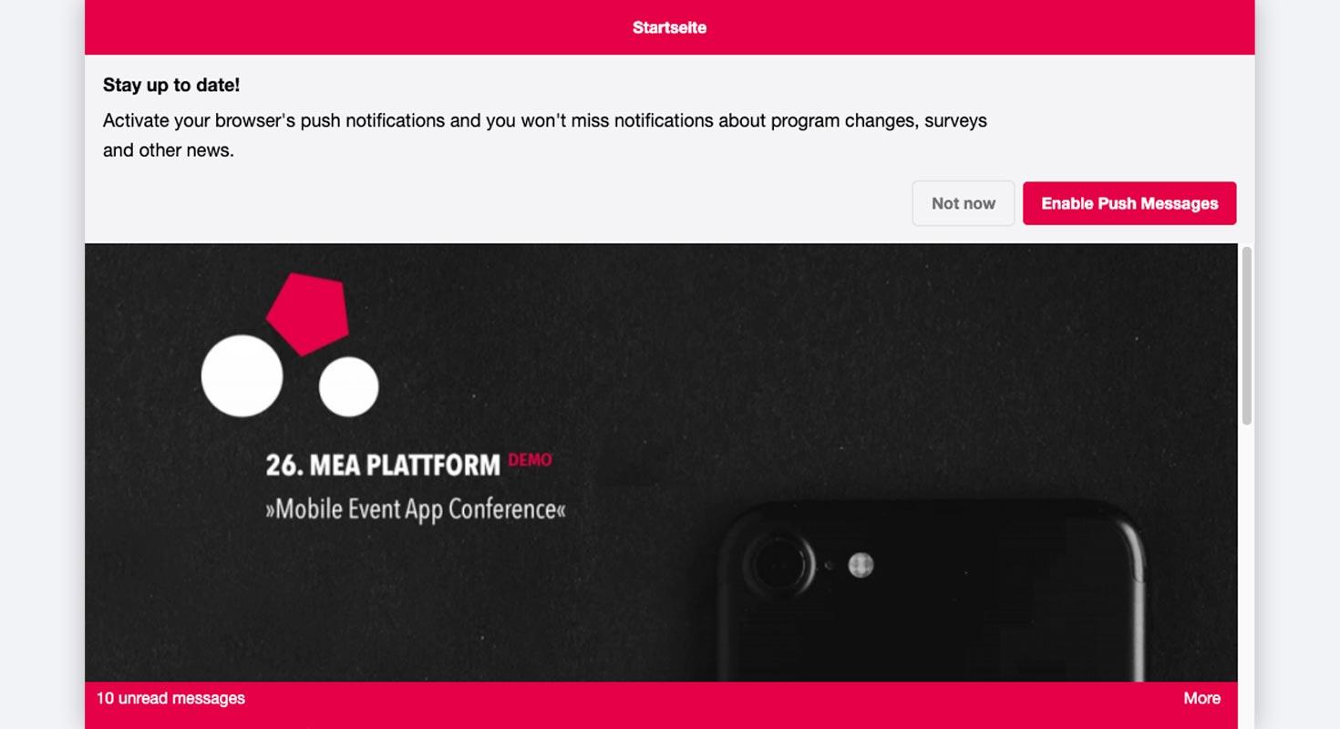 event platform information browser message