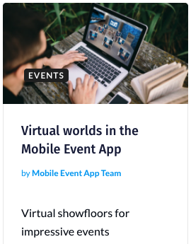 Blog virtual worlds in the mobile event app
